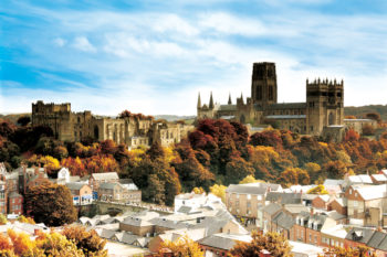 Durham Castle and Cathedral, Unesco World Heritage Site, Durham City, Autumn skyline