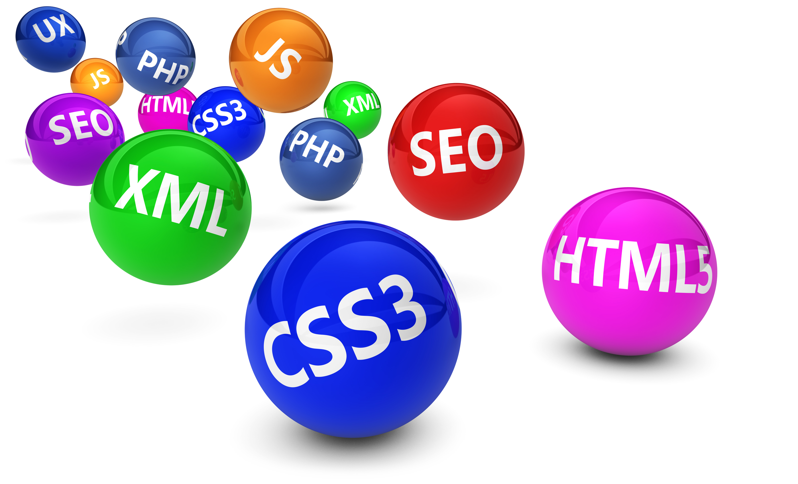 Webdesign, Internet and SEO concept with programming language sign on colorful bouncing spheres on white background.