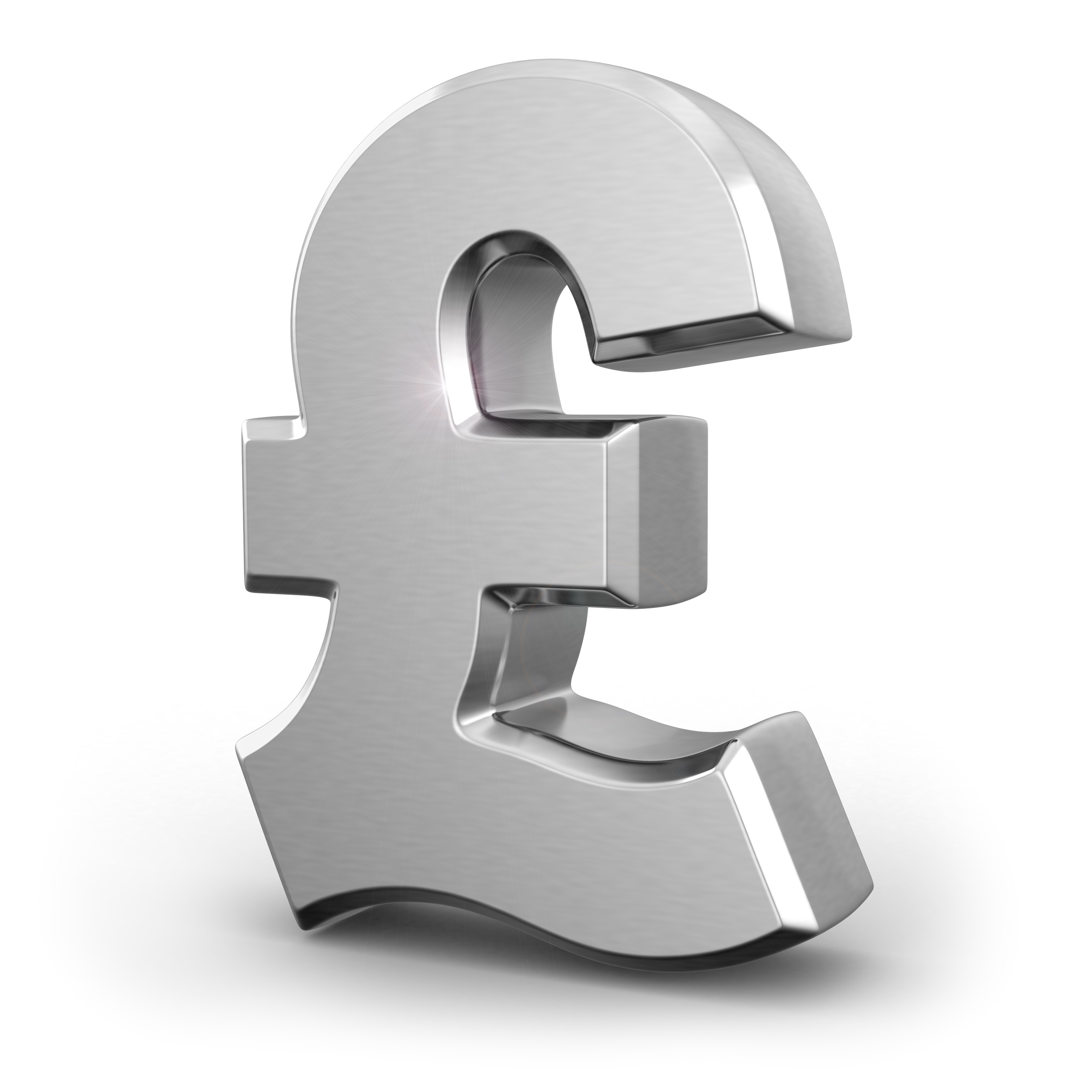 Silver pound currency sign on white isolated background. 3d