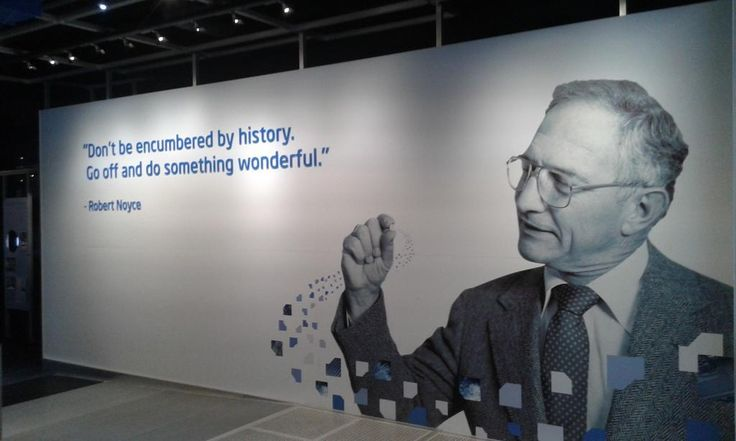 Robert Noyce Billboard at the Intel Museum.  Dr Noyce died in 1990   Image credit Metavallon via Pinterest