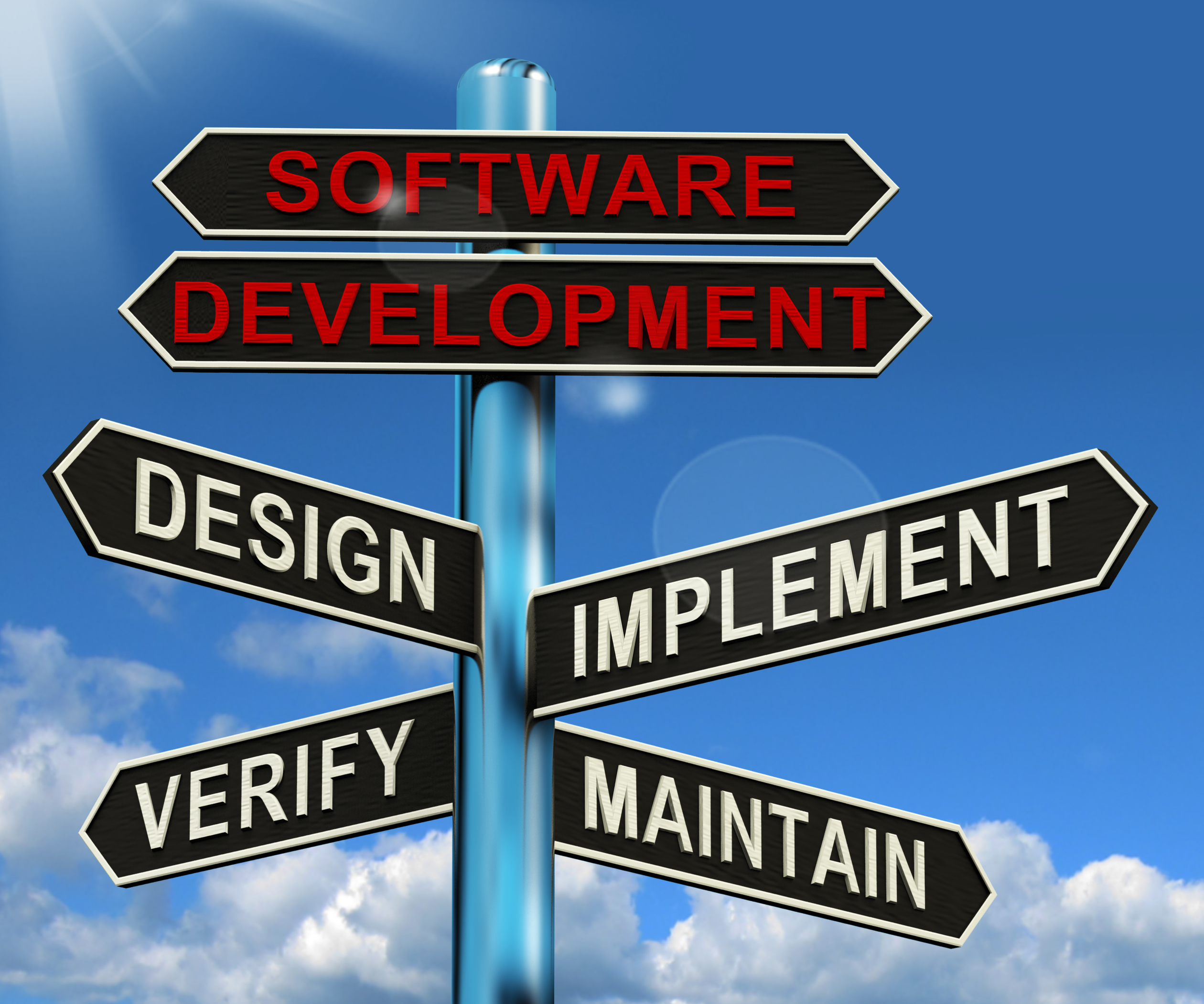 Software Development Pyramid Shows Design Implement Maintain And Verify